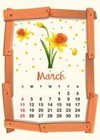 Kalendersjabloon voor maart met gele bloem