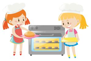 Two girls baking pie in oven