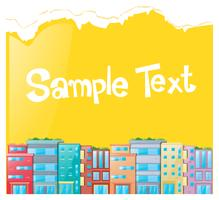 Paper template with many buildings