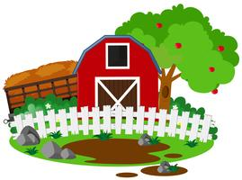 Farm scene with barn and apple tree