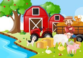 Cena de fazenda com agricultor e animais