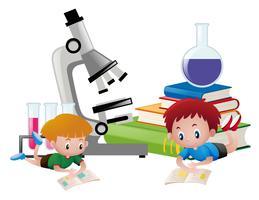 Dos niños leyendo libros y equipos de ciencia en el fondo