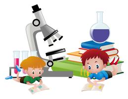 Two boys reading books and science equipments in background