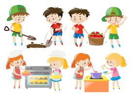 Kinderen koken en dingen doen in de tuin