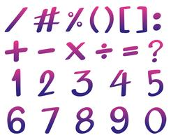 Font design for numbers in pink and purple color