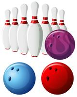 Bowling pins and balls in different colors