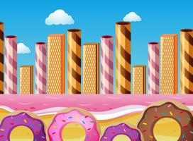 Fantacy scene with donuts and pink ocean