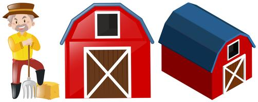 Farmer and two red barns