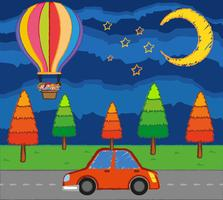 Scene with kids riding balloon over the road at night