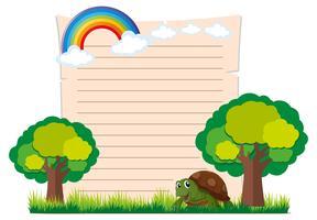 Plantilla de papel con tortuga y árboles