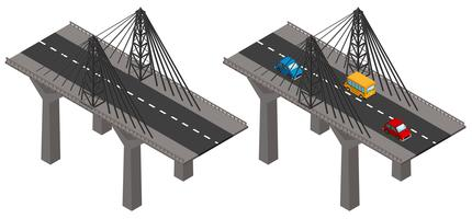 Bridge with cars and without