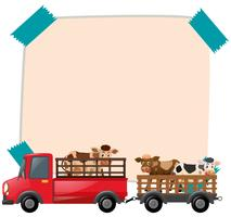 Paper template with cows on truck