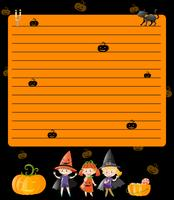 Line paper template with kids in halloween costumes
