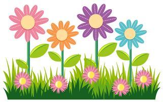 Sömlös naturdesign med blommor och gräs