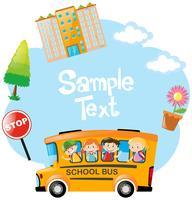 Plantilla de papel con niños montando en bus