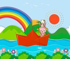 Konijn die in paperboat in de rivier vissen