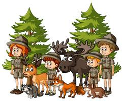 Kids in safari outfit with many animals
