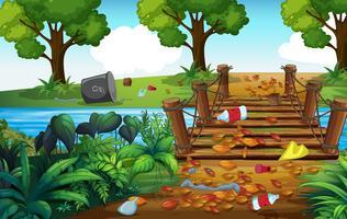 Una foresta piena di rifiuti