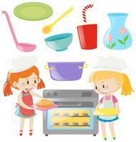Ragazze che cuociono e utensili da cucina impostati