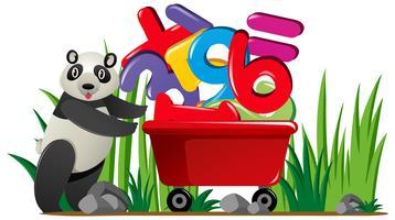 Panda empujando el carro lleno de números