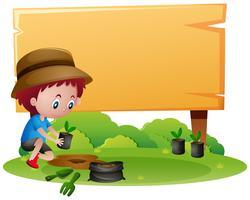 Trä skylt mall med pojke plantering träd