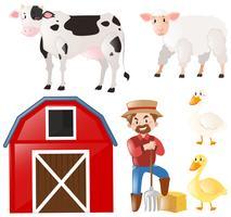 Conjunto com agricultor e animais de fazenda