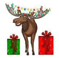 Christmas theme with reindeer and presents