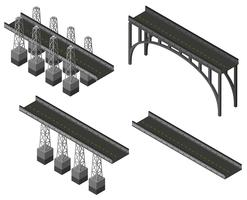 Different designs of bridges