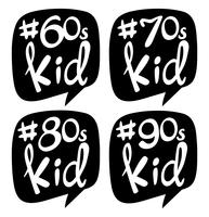 Sticker design for different generation kids vector