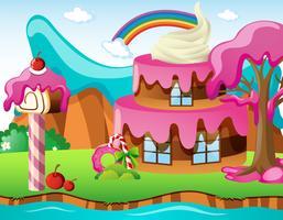 Scène met cakehouse en regenboog