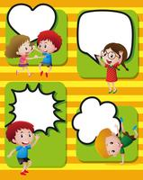 Speech bubbles template with happy kids