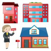 Verkaufsagent und verschiedene Arten von Unterkünften