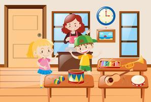 Niños y diferentes tipos de instrumentos musicales.