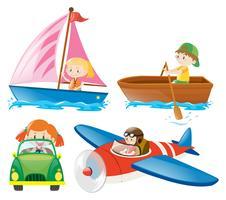Kinder in verschiedenen Transportarten
