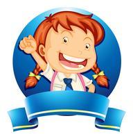 Diseño de etiqueta con niña en uniforme escolar. vector