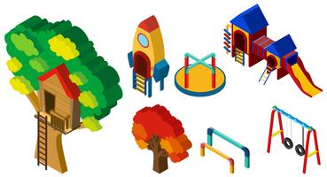 3D design for different stations at playground