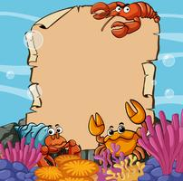 Paper template with sea animals underwater