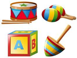 Instrumentos musicales y juguetes.