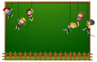 Board template with kids hanging on ropes