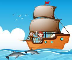 Vikingen op schip en dolfijnen in de zee