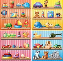 Diferentes tipos de juguetes en los estantes.