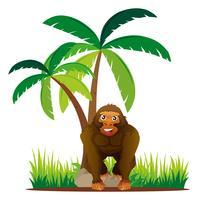 Gorilla står under trädet