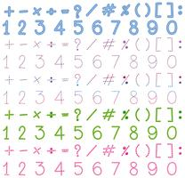 Numbers and signs in many colors