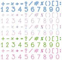 Números y signos en muchos colores.