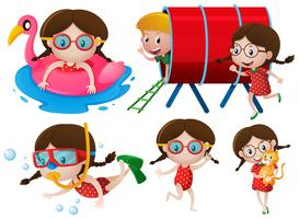 Little girls doing many activities vector