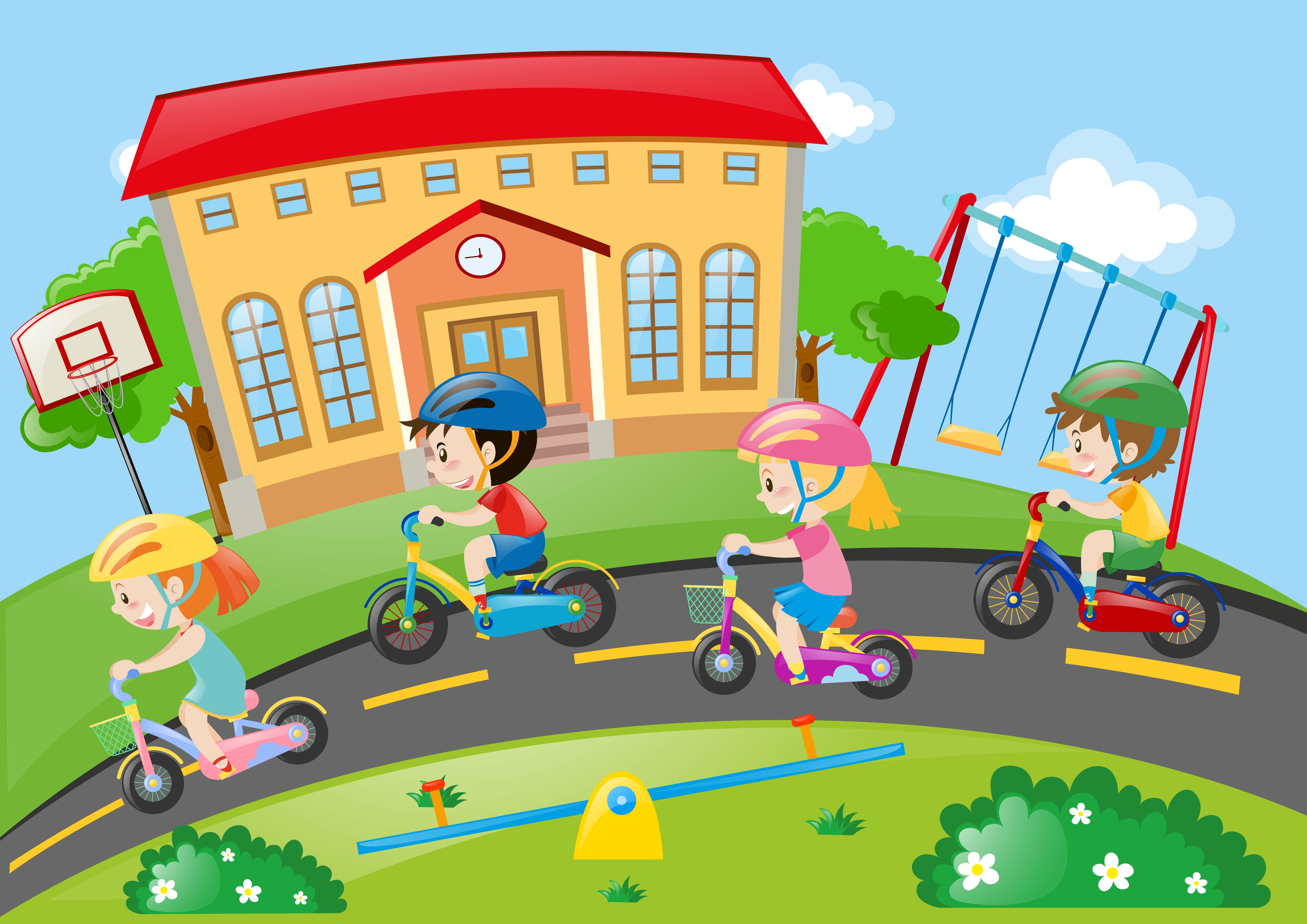 Criancas Andando De Bicicleta Na Estrada Download Vetores Gratis