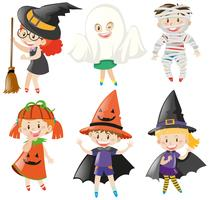 Boys and girls in halloween costumes