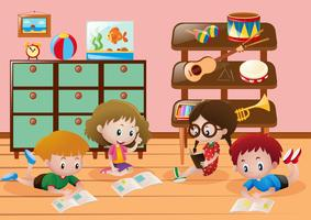 Crianças, leitura, livros, sala