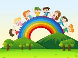 Niños sobre el arcoiris