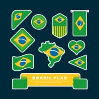 Brasil Flag Clipart Set Vector